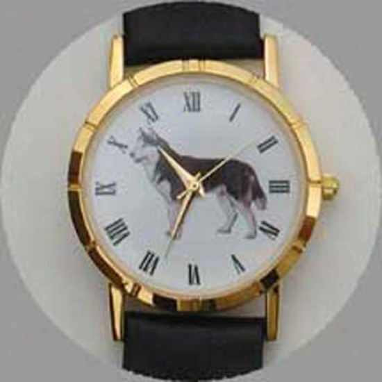 Siberian Husky Watch - Small Face, Black Leather