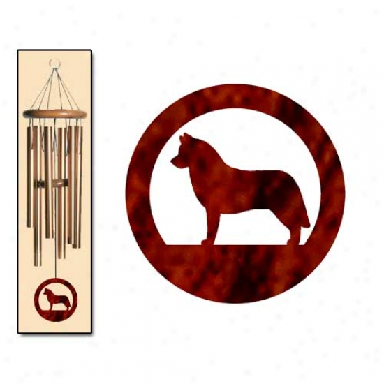 Siberian Husky Wind Chimes Medium Bronze