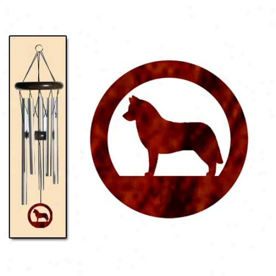 Siberian Husky Wind Chimes Small Silver