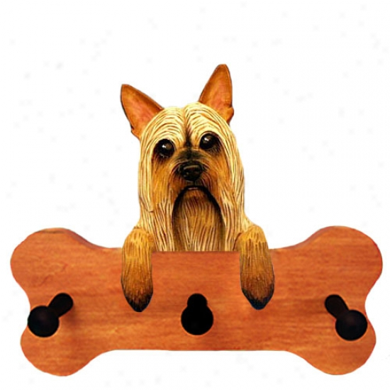 Silky Terrier Bone Hang Up Maple Finish