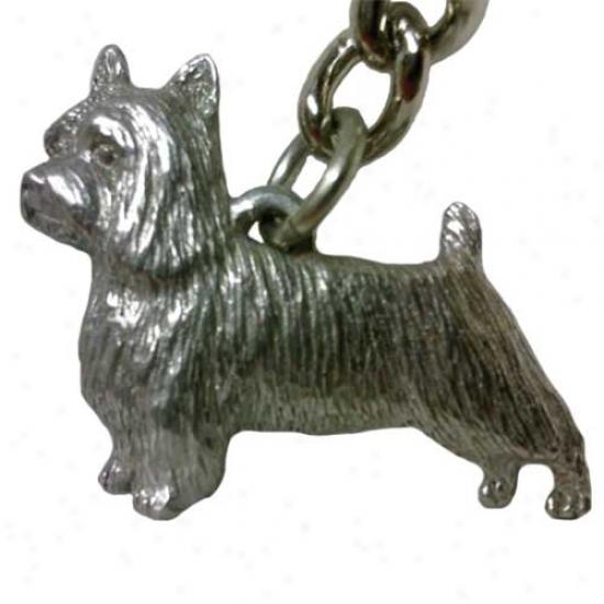 Silky Terrier George Harris Pewter Keychaain