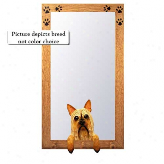 Silky Terrier Hall Mirror With Oak Golden Frame