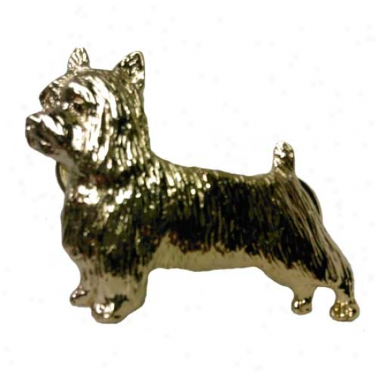 Silky Terrier Pin 24k Gold Plated
