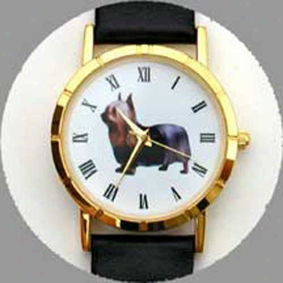 Silky Terrier Watch - Small Face, Black Leather