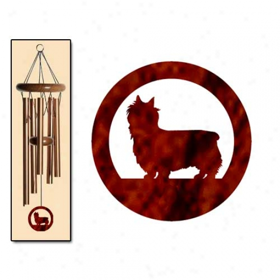 Silky Terrier Wind Chimes Small Bronze