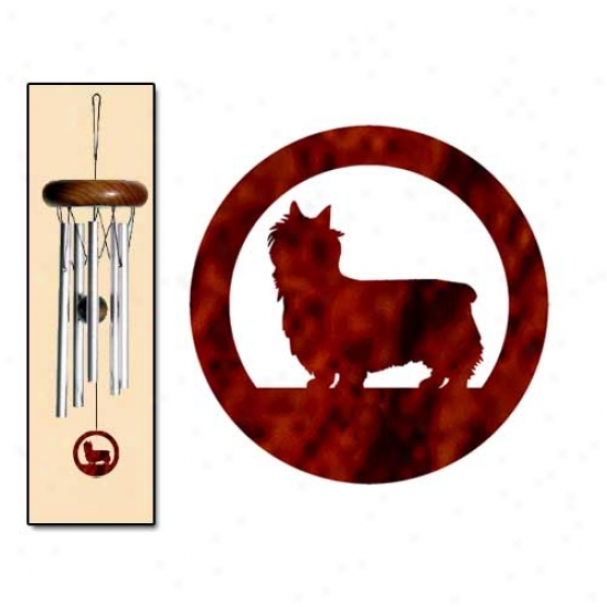 Silky Terrier Wind Chimes X-small Silver