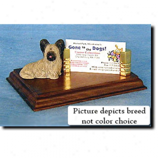 Skye Terrier (cream) Business Card Holder