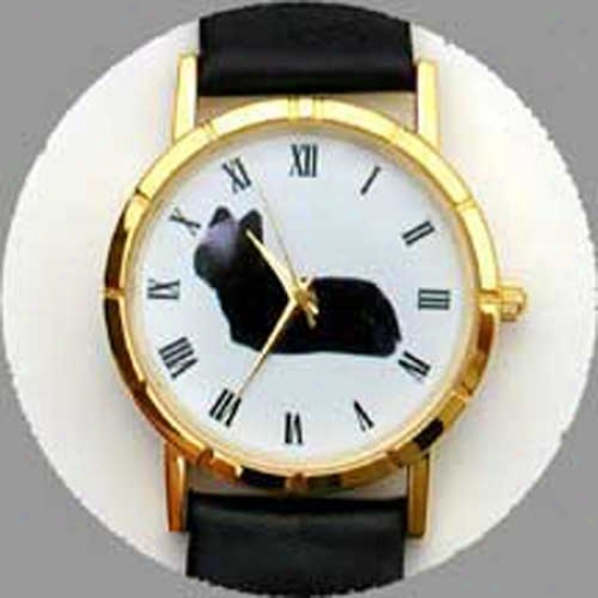 Skye Terrier Watch - Small Face, Black Leather