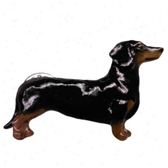 Smooth Black And Tan Dachshund Hand Painted Pin
