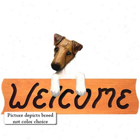 Smooth Fox Terrier Brown Welcome Sign Mapple
