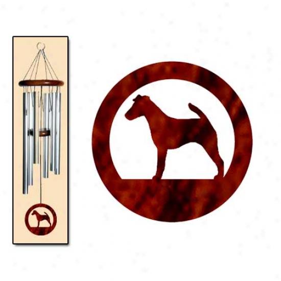 Bland Fox Terrier Wind Chimes Medium Silver