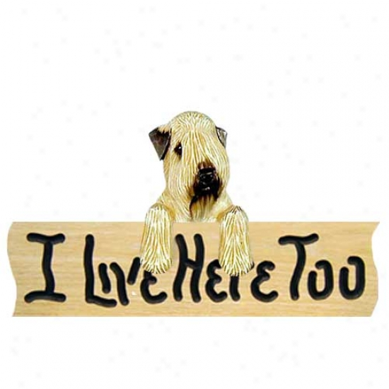 Soft Coated Wheaten I Live Here Too Oak Finish Sign