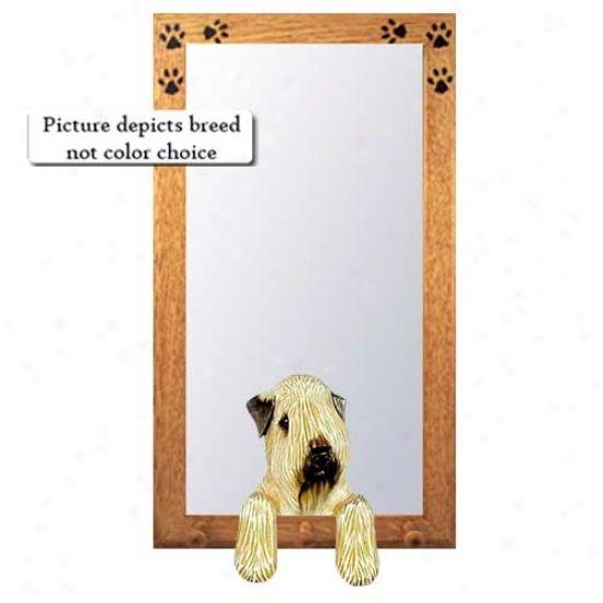 Soft Coated Wheaten Terrier Hall Mirror With Basswood Pine Frame