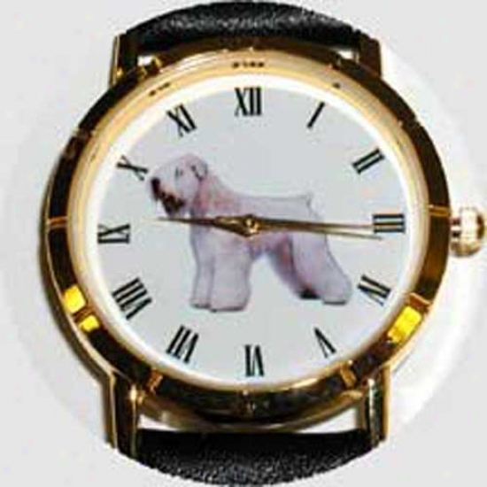 Soft Coated Wheaten Terrier Watch - Small Face, Black Leather
