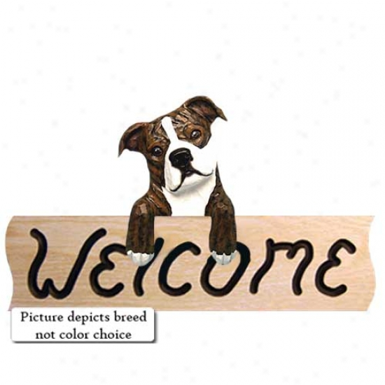 Staffordshire Bull Terrier Red And White Wslcome Sign Oak