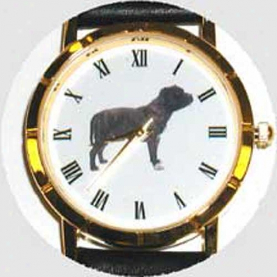 Staffordshire Bull Terrier Watch - Large Face, Black Leather