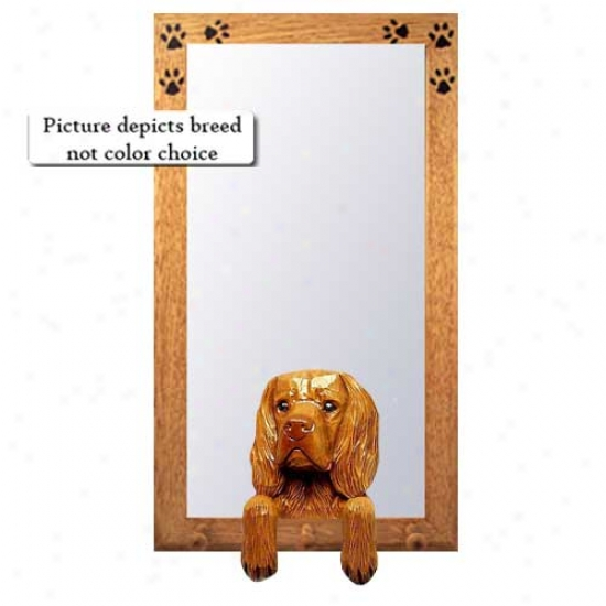 Sussex Spaniel Hzll Mirror With Basswood Pine Frame