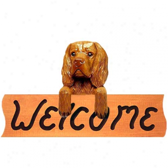Sussex Spaniel Welccome Sign Maple