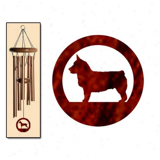 Swedish Vallhund Wind Chimes Small Bronze
