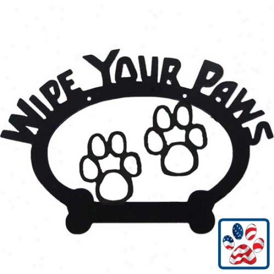 Sweeney Ridge Paw Print Wipe Your Paws Decorative Sign