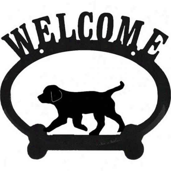 Sweeney Ridge Puppy Oval Metal Greet Sign