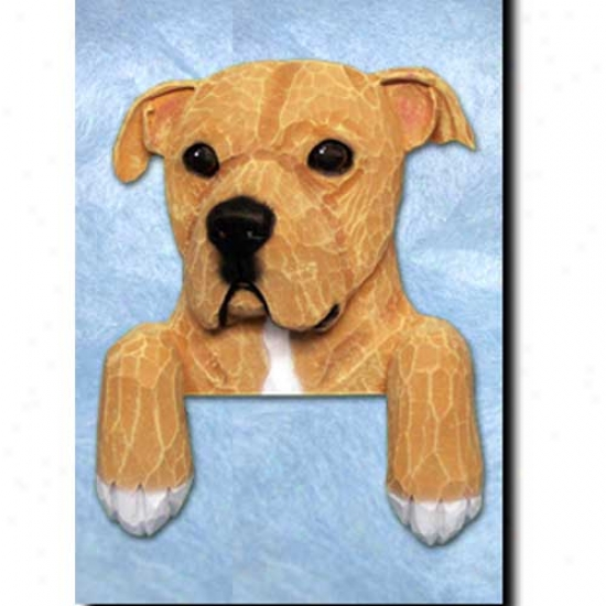 Tan And White Natural American Staff0rdshire Terrier Door Topper