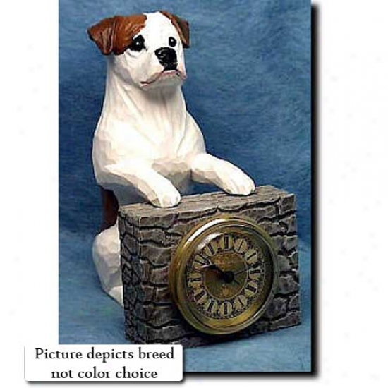 Tan Bulldog Mantle Clock