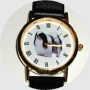 Japanese Chin Watch - Large Face, Black Leather