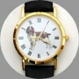 Welsh Springer Spaniel Watch - Small Face, Black Leather