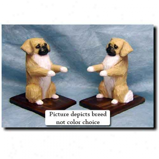 Tibetan Spaniel Bookends Red