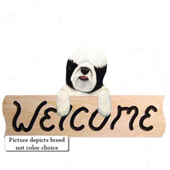 Tibetan Terrier Black Welcome Sign Oak