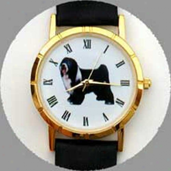 Tibetan Terrier Watch - Smal Face, Black Leather