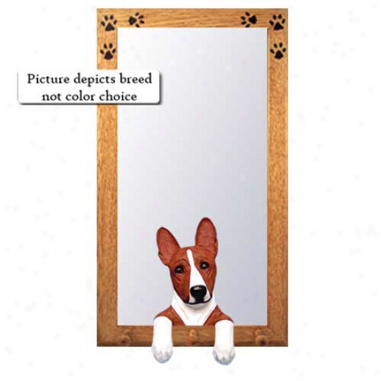Tri Basenji Hall Mirror With Basswood Pine Frame