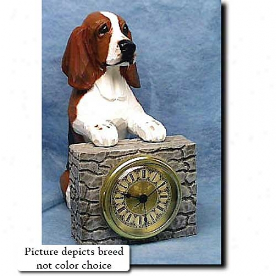 Tri Basset Hound Mantle Clock
