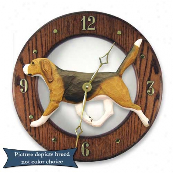 Tri Beagle Wall Clock In Light Oak By Michael Park