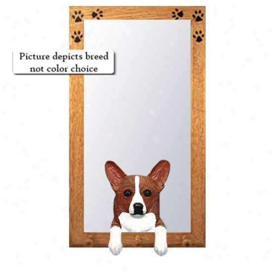 Tri Pembroke Welsh Corgi Hall Mirror With Basswood Pine Frame