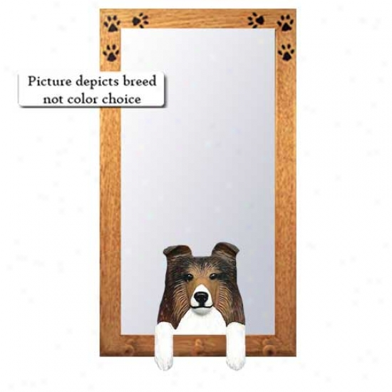 Tri Shetland Sheepdog Hall Mirror With Oak Natural Frame