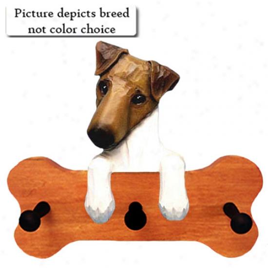 Tri Smooth Fox Terrier Bone Hang Up Maple Finish