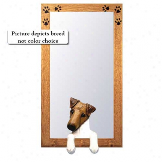 Tri Smooth Fox Terrier Hall Mirror With Basswood Pine Frame