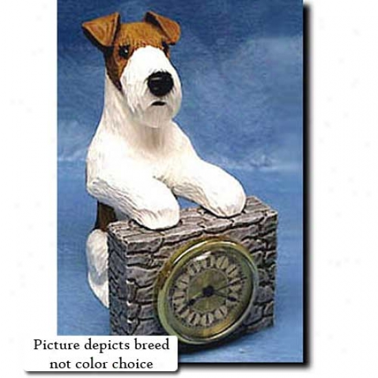 Tri Wire Fox Terrier Mantle Clock
