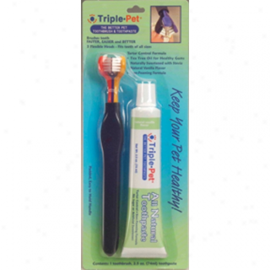 Triple Pet Ezdog Dental Kit (toothbrush And Toothpaste)