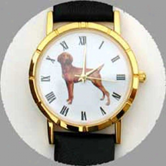 Vizsla Watch - Ladge Face, Black Leather