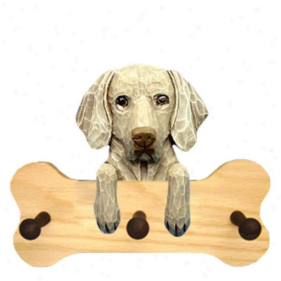 Weimaraner Bone Hang Up Natural Oak