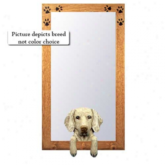 Weimaraner Hall Mirror With Oak Natural Frame