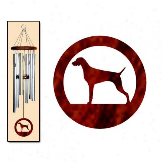 Weimaraner Wind Chimes Medium Silver