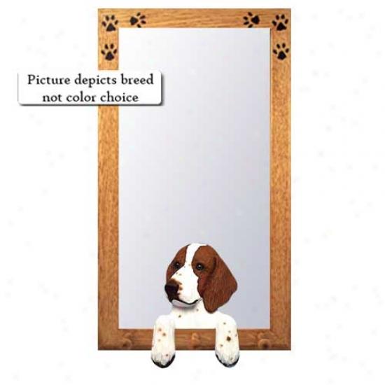 Welsh Springer Spaniel Hall Mirror With Oak Golden Frame