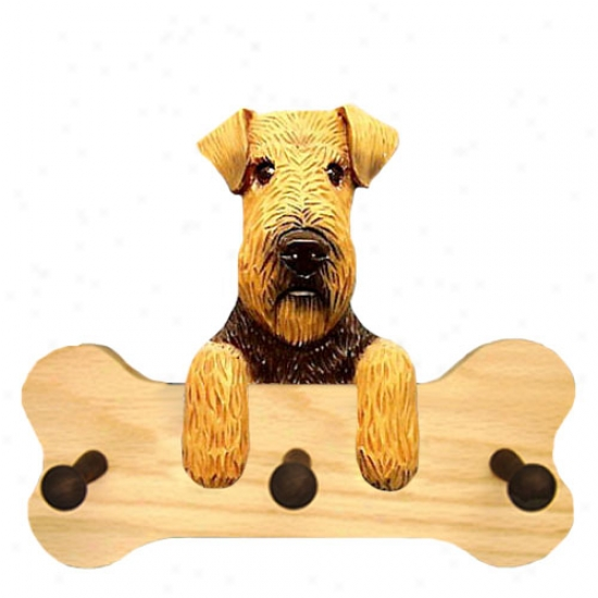 Welsh Terrier Bone Hang Up Natural Oak