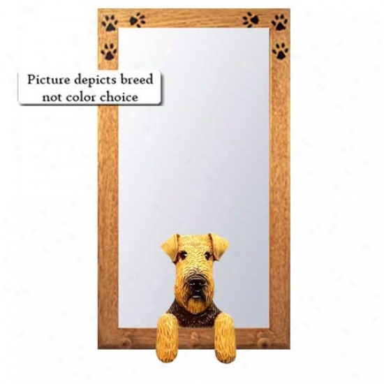 Welsh Terrier Hall Mirror With Oak Golden Frame