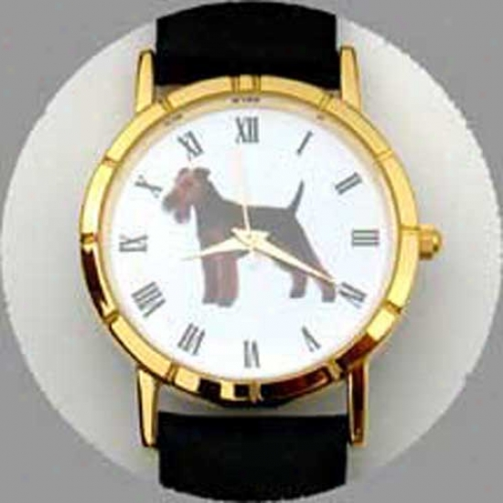 Welsh Terrier Watch - Large Face, Black Leather
