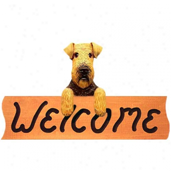 Welsh Terrier Welcome Sign Maple